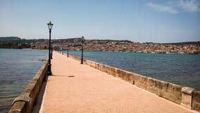 Ponte de Drapano em Argostoli, Kefalonia, Grécia Fotos de Stock Royalty Free