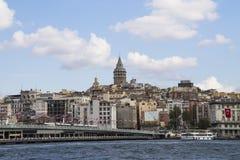 Ponte de Galata e torre de Galata Fotografia de Stock Royalty Free