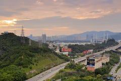 A ponte de Haicang encoberta pelo por do sol nubla-se, cidade amoy, porcelana Fotos de Stock Royalty Free