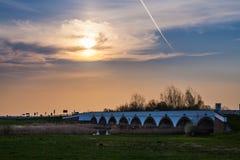 A ponte de Hortobagy, Hungria, local do patrimônio mundial pelo UNESCO Imagem de Stock Royalty Free