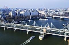 Ponte de Hungerford vista do olho de Londres foto de stock