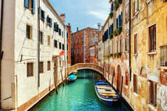 Ponte de L Anatomia和里约de圣昝Degola运河,威尼斯 库存照片