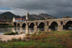 Ponte de Lima Bridge and Church Royalty Free Stock Image