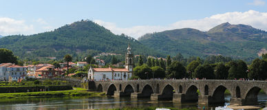 Ponte de Lima. PORTUGAL - AUGUST 3, 2014:  View on the Roman bridge at , a town in the Northern Minho region in Portugal Stock Photo