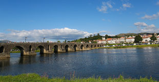 Ponte de Lima. PORTUGAL - AUGUST 3, 2014:  View on the Roman bridge at , a town in the Northern Minho region in Portugal Royalty Free Stock Images