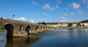 Ponte de Lima. View on the Roman bridge at Ponte de Lima, a town in the Northern Minho region in Portugal Stock Photo