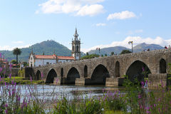 Ponte de Lima. View on the Roman bridge at Ponte de Lima, a town in the Northern Minho region in Portugal Stock Photography