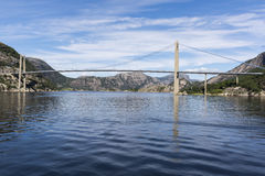 Ponte de Lysefjord Brucke em Noruega Foto de Stock