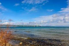 Ponte de Mackinac na península superior de Michigan Imagem de Stock Royalty Free