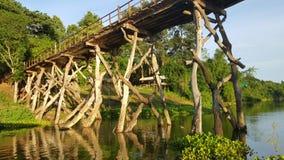 Ponte de madeira através do rio Foto de Stock