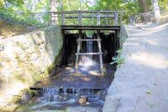 Ponte de madeira com os trilhos acima do rio no parque sob árvores fotos de stock royalty free