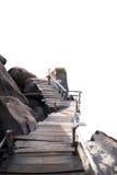 Ponte de madeira com rocha foto de stock royalty free
