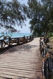 Ponte de madeira da ilha da prisão em Zanzibar Foto de Stock Royalty Free
