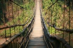 Ponte de madeira de suspensão Fotos de Stock Royalty Free