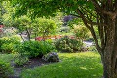 Ponte de madeira do jardim imagens de stock