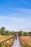 Ponte de madeira e velomotor fotografia de stock royalty free