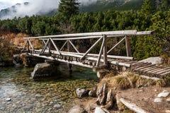 Ponte de madeira em Tatras alto imagem de stock royalty free