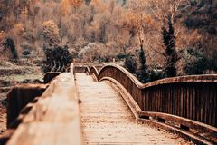 Ponte de madeira em uma paisagem do outono foto de stock