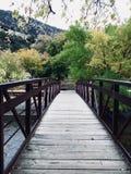 Ponte de madeira na água clara imagens de stock