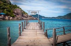 Ponte de madeira na ilha de Nangyuan imagem de stock