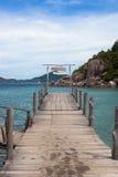 Ponte de madeira na ilha de Nangyuan Imagens de Stock