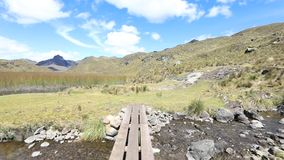 Ponte de madeira pequena na fuga no parque nacional Equador de Cajas filme