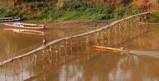 Ponte de madeira sobre Luang Prabang Imagem de Stock Royalty Free