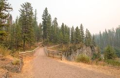 Ponte de madeira sobre o desfiladeiro da angra do prado para a fuga de caminhada e horseback de embalagem na área de Bob Marshall imagem de stock royalty free