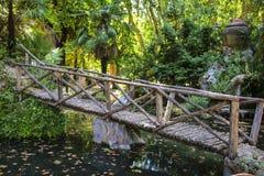 Ponte de madeira sobre uma lagoa em um dos parques fotografia de stock