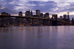 Ponte de Manhattan e de Brooklyn Fotografia de Stock Royalty Free