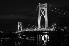 A ponte de Meados de-Hudson na noite, em Poughkeepsie, New York fotos de stock