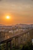 Ponte de Nanjing o Rio Yangtzé para o trem Imagem de Stock