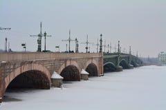 Ponte de Neva e de Troitzky no inverno St Petersburg, Rússia Fotos de Stock Royalty Free
