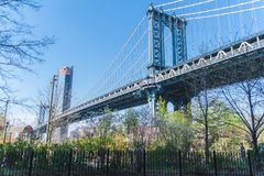 Ponte de New York, Brooklyn, Lower Manhattan, EUA foto de stock