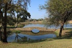 Ponte de pedra através do rio no campo de golfe Imagens de Stock