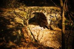 Ponte de pedra com folhas caídas Foto de Stock Royalty Free