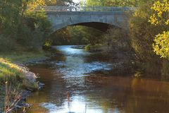 Ponte de pedra velha atrav?s do c?rrego pequeno nas madeiras imagem de stock