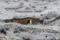 Ponte de pedra velha coberta no inverno da neve imagem de stock