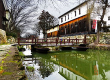 Ponte de pontão, Hachiman-Bori, OMI-Hachiman, Japão Fotos de Stock Royalty Free