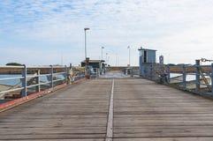 Ponte de pontão no estuário do rio de Po, Itália Imagens de Stock Royalty Free