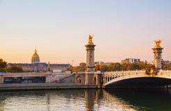 Ponte de Pont Alexandre III Alexander III em Paris, França Fotografia de Stock Royalty Free