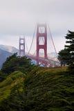Ponte de porta dourada em uma névoa Fotos de Stock