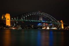 Ponte de porto de Sydney em a noite Fotografia de Stock Royalty Free