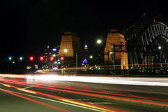 Ponte de porto de Sydney na noite fotos de stock