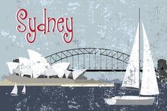 Ponte de porto do teatro da ópera de Sydney e de sydney ilustração do vetor