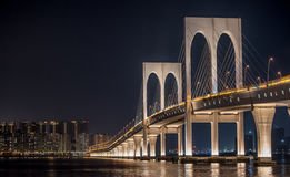 Ponte de Sai Van, bridge in Macao at night with lights. An extended exposure of Macao's west-most bridge Royalty Free Stock Photos