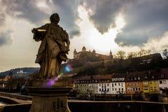 A ponte de Saint em Wurzburg Fotografia de Stock Royalty Free