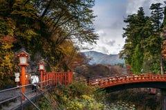 Ponte de Shinkyo, Nikko Tochigi Kanto, Japão A ponte sagrado, fotos de stock royalty free