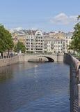 Ponte de Silin no rio Karpovka na cidade de St Petersburg Fotografia de Stock