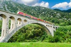 Ponte de Solkan, Eslovénia Imagens de Stock